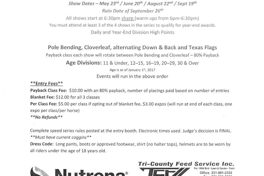 2017 B.F.H.P Speed Series Presented by Tri-County Feed Service Inc. & Nutrena